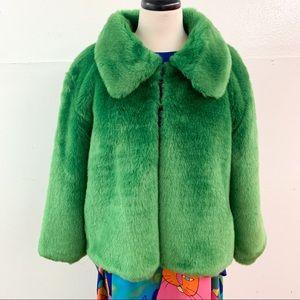 Vintage Green Faux Fur Collared Coat Cape Jacket L